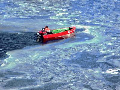 Photograph - Red Boat In Blue Ice by Stephanie Moore