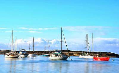Photograph - Red Boat In Morro Bay Harbor by Barbara Snyder