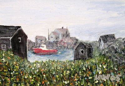 Art Print featuring the painting Red Boat In Peggys Cove Nova Scotia  by Ian  MacDonald