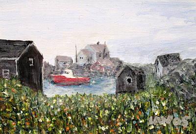 Red Boat In Peggys Cove Nova Scotia  Art Print by Ian  MacDonald