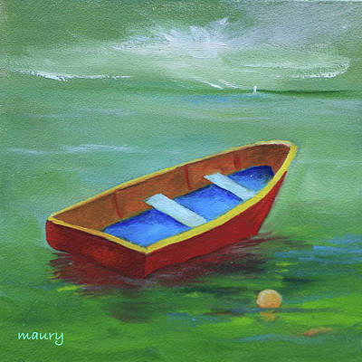 Painting - Red Boat In The Green Lagoon by Alicia Maury