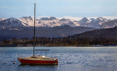 Photograph - Red Boat On Lucerne 2 by TK Goforth