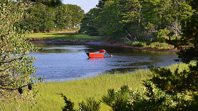 Photograph - Red Boat On The Herring River by Ken Stampfer