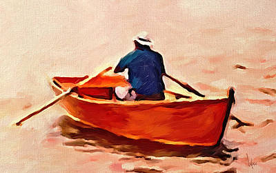 Little Red River Painting - Red Boat Painting Little Red Boat Small Boat Painting Old Boat Painting Abstract Boat Art Countrysid by Vya Artist