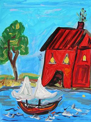 Red Boathouse And Red Sailboat Art Print by Mary Carol Williams