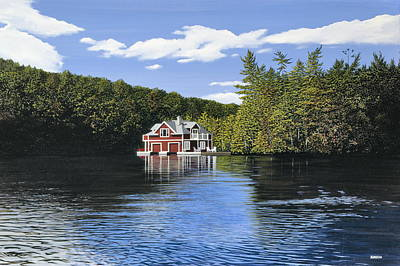 Boathouse Painting - Red Boathouse by Kenneth M  Kirsch