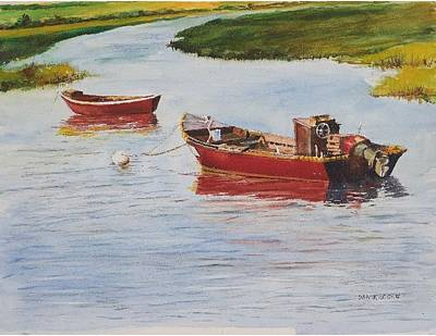 Red Boats At Rest Art Print by Dan McCole