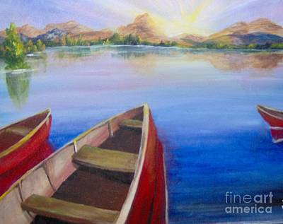 Art Print featuring the painting Red Boats At Sunrise by Saundra Johnson