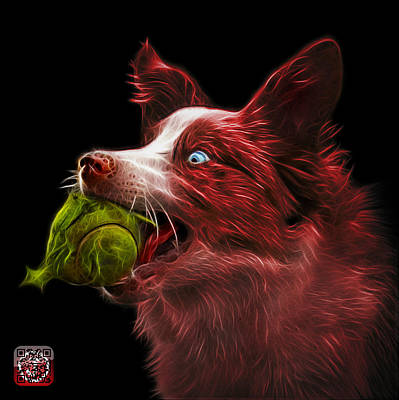 Painting - Red Border Collie -  Elska - 9847 - Bb by James Ahn