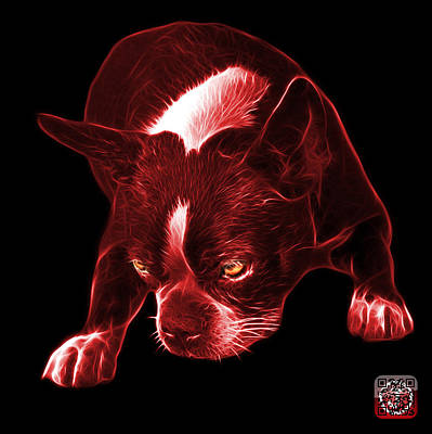 Mixed Media - Red Boston Terrier Art - 8384 - Bb by James Ahn