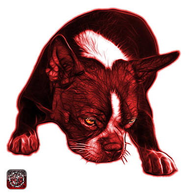 Photograph - Red Boston Terrier Art - 8384 - Wb by James Ahn