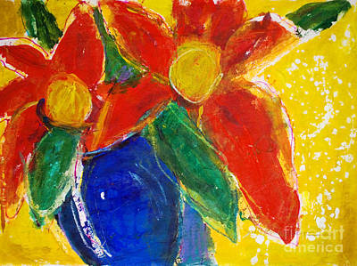 Two Vases Painting - Red Bouquet by Julie Kerns Schaper - Printscapes