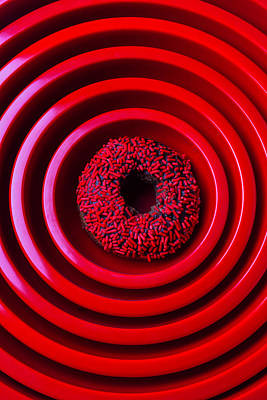 Bakery Photograph - Red Bowls And Donut by Garry Gay