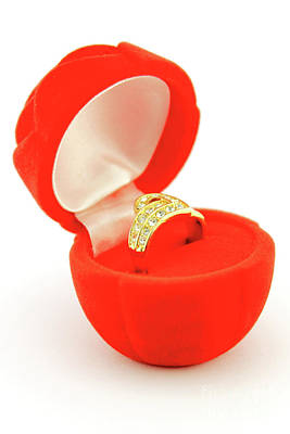 Jewelry Photograph - Red Box Open With Engagement Ring by Daniel Ghioldi