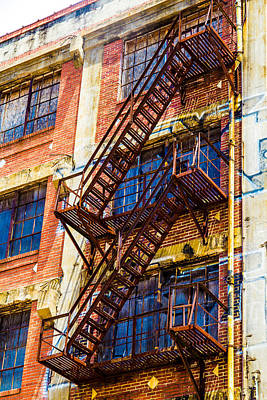 Digital Art - Red Brick Fire Escape by Bartz Johnson
