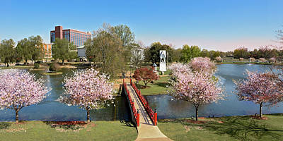 Downtown Huntsville Photograph - Red Bridge And A Cherry Tree by Jeannee C Gannuch