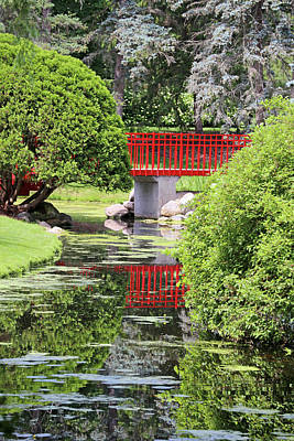 Photograph - Red Bridge And Reflection 2 Dow Gardens 062618 by Mary Bedy