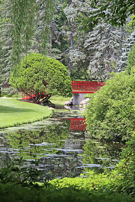 Photograph - Red Bridge And Reflection 3 Dow Gardens 062618 by Mary Bedy