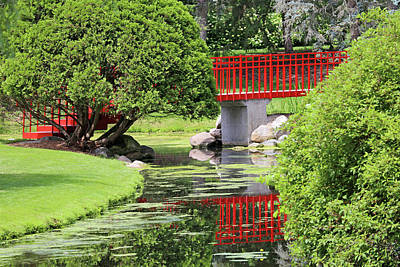 Photograph - Red Bridge And Reflection Dow Gardens 062618 by Mary Bedy
