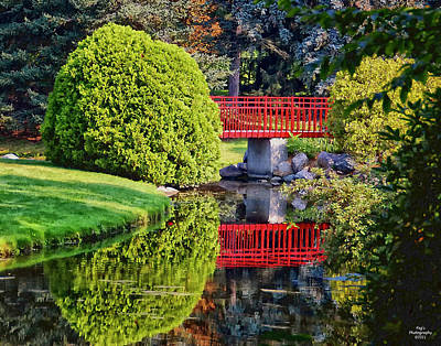 Red Bridge At Dow Gardens Art Print