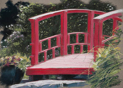 Pastel - Red Bridge by Christopher Reid