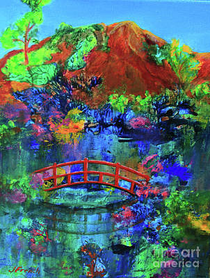 Painting - Red Bridge Dreamscape by Jeanette French