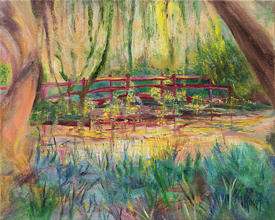 Southern Plantation Painting - Red Bridge by Kathy Knopp