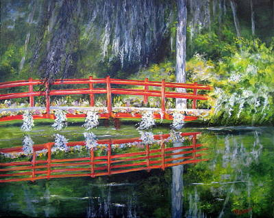 Painting - Red Bridge--magnolia Plantation by Mary McCullah