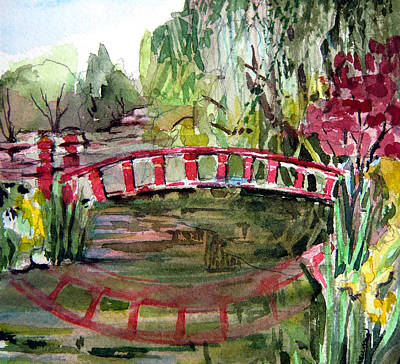 Red Bridge Art Print by Mindy Newman