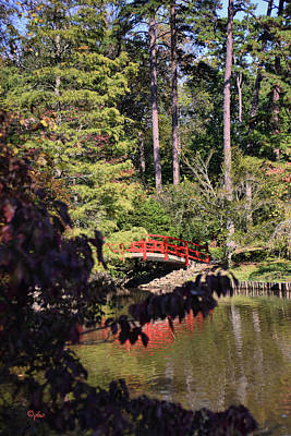 Photograph - Red Bridge Portrait - Duke Gardens by Paulette B Wright