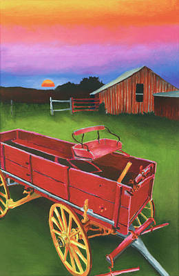 Red Buckboard Wagon Art Print