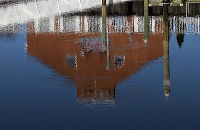 Red Building Reflection Art Print by Karol Livote