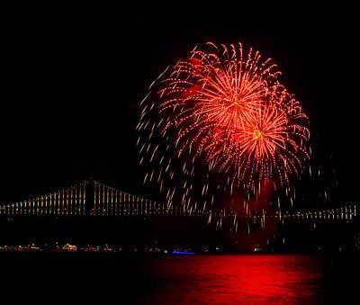 Photograph - Red Burst Fireworks by Bonnie Follett