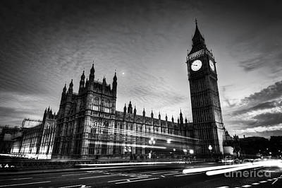 Photograph - Red Bus, Big Ben And Westminster Palace In London, The Uk. At Night. Black And White by Michal Bednarek