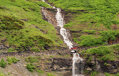 Photograph - Red Bus Crossing Haystack Creek by Loree Johnson