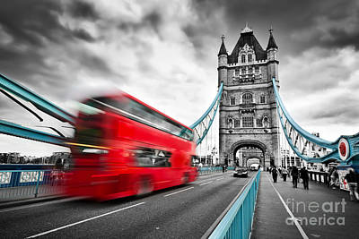 Dramatic Photograph - Red Bus In Motion On Tower Bridge In London, The Uk by Michal Bednarek