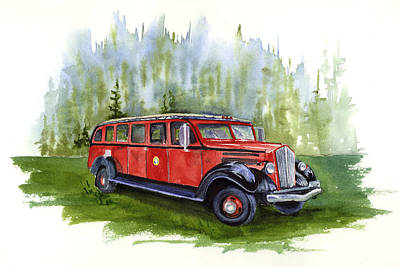 Painting - Red Bus by Marsha Karle