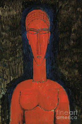 Painting - Red Bust, Caryatid, 1913 by Amedeo Modigliani