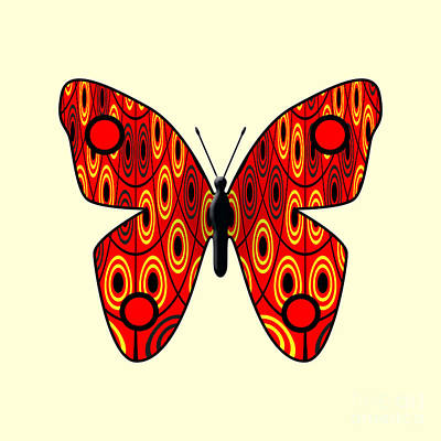 Bug Digital Art - Red Butterfly by Gaspar Avila
