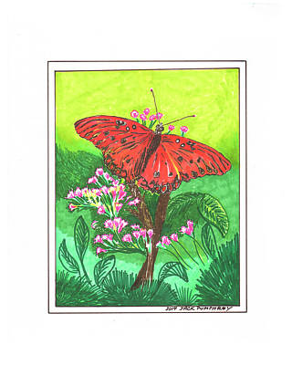 Painting - Red Butterfly by Jack Pumphrey