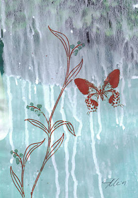 Red Butterfly Art Print by Jennifer Bonset