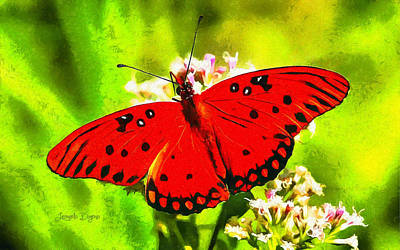 Plum Painting - Red Butterfly by Leonardo Digenio