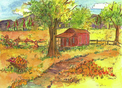 Print featuring the painting Red Cabin In Autumn  by Cathie Richardson