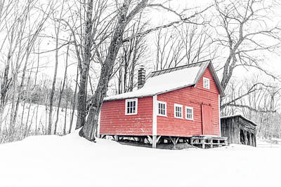 Photograph - Red Cabin In The Woods Winter In Vermont by Edward Fielding