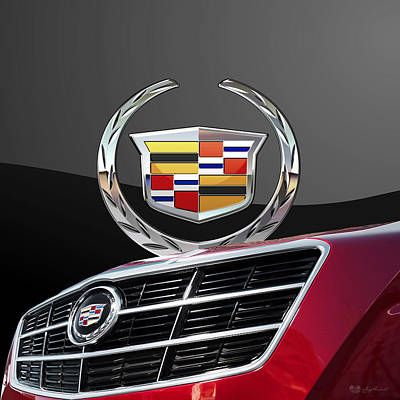 Digital Art - Red Cadillac C T S - Front Grill Ornament And 3 D Badge On Black by Serge Averbukh