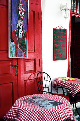 Checkered Tablecloth Photograph - Red Cafe Art In Mykonos by John Rizzuto