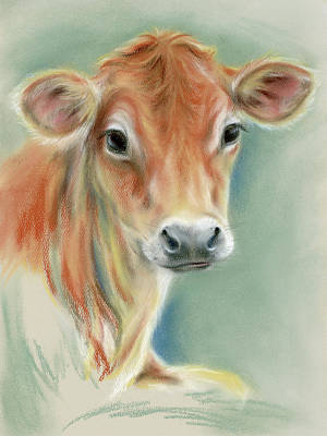 Pastel - Red Calf Portrait by MM Anderson