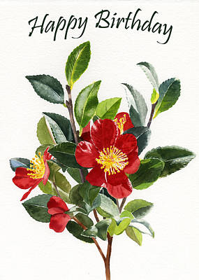 Camellia Painting - Red Camellia Birthday Card 1 by Sharon Freeman