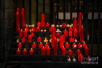In A Row Mixed Media - Red Candles by Svetlana Sewell