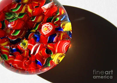 Photograph - Red Candy Glass Abstract Close-up by Karen Adams